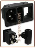 IEC tripolar built-in bright plug with bipolar switch, without fuse