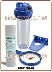 "Filtration kit 3-pieces standard housing 10"" IN-OUT 3/4"" clear (12)"